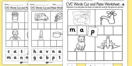 CVC Words Cut and Paste Activity Sheet a