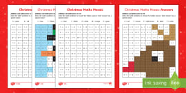 * NEW * Christmas Maths Mosaic Calculations within 10 Activity Sheets