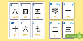 Japanese Numbers 0-10 and 100 Flashcards