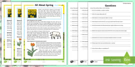 Spring Reading Differentiated Comprehension Activity Sheet Pack