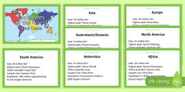 Continents of the World Fact Cards