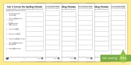 year 3 and 4 correct the spelling mistakes worksheet worksheet pack. Black Bedroom Furniture Sets. Home Design Ideas
