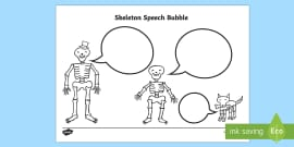 Skeleton Speech Bubble Activity Sheet to Support Teaching on Funny Bones