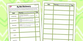 The Secret Garden Mini Dictionary Writing Template