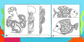 Under the Sea Themed Mindfulness Colouring Sheets