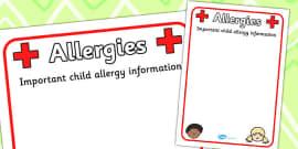 Pupil Allergy Information Poster