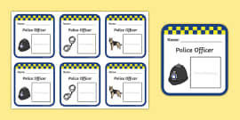 Police Identity Badge Role Play Template Police Id Badge