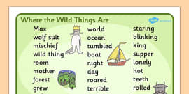 Word Mat (Text) to Support Teaching on Where the Wild Things Are