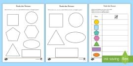 Eigenschaften von 2D Formen Arbeitsblätter - Figuren, Seiten