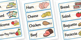 Sandwich Shop Role Play Labels