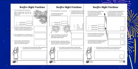 Year 4 Bonfire Night Fractions Differentiated Activity Sheets