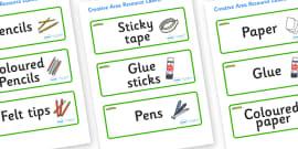 Caterpillar Themed Editable Creative Area Resource Labels