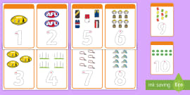 AFL 1-10 Number Tracing Cards