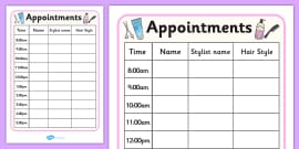 Hairdressers / Salon Role Play Appointment Sheet
