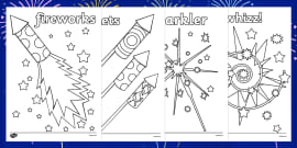 Fireworks / Bonfire Night Colouring Sheets