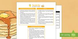 Pancake Day Fact Sheet for Adults