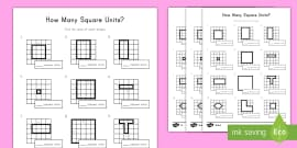 Year 4 Calculate Area By Counting Squares Worksheet Activity Sheet