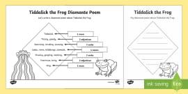 Diamante Poem Writing Template Literacy Interpreting Analysing