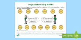 Troy and Moira 'oy' and 'oi' Ten in a Row Worksheet - phonics, phase 5