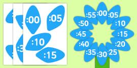 Analogue to Digital Clock Label Flower - clock, flower, petals