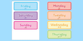 Days of the Week Flashcards Urdu - urdu, days, week