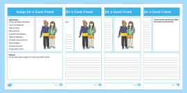 Recipe for a Good Friend Differentiated Activity Sheets