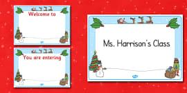 Christmas Themed Editable Class Welcome Signs