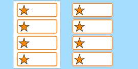 Editable Orange Stars Drawer, Peg, Name Labels