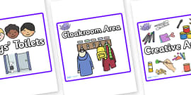 Square Classroom Area Signs (Octopus)