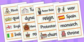 Elizabeth I Word Cards