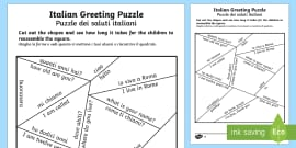 Italian common phrases table worksheet activity sheet italian greetings puzzle englishitalian m4hsunfo