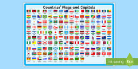Flags and Capitals Display Poster
