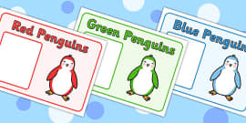 Editable Penguin Themed Group Signs