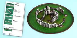 3D Stonehenge Paper Model Printable Activity
