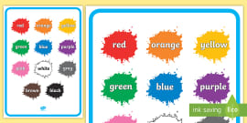 * NEW * Colour Names on Splats Display Poster