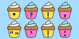 Punctuation Marks on Cupcakes