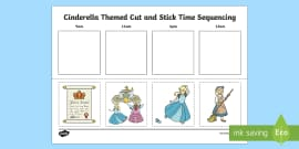 Cinderella Themed Cut and Stick Time Sequencing Activity Sheet
