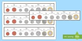New British Money (UK) Coins Strips