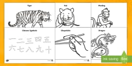 Chinese New Year Colouring Sheets