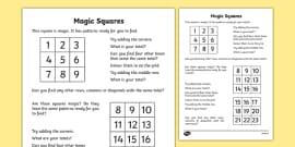 Magic Squares 2 Worksheet - magic squares, magic squares
