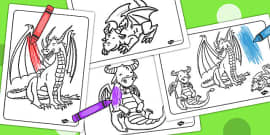 Dragon Colouring Sheets