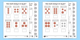 How Much Money Is in My Jar? British Money Differentiated Activity Sheets