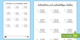 NEW * Subtraktion über 100 Arbeitsblatt - Minus, abziehen