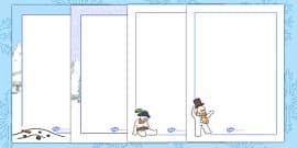 Five Little Snowmen Fat Page Borders
