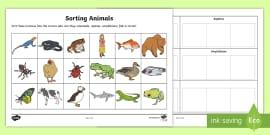 Sorting Animals into Sets Activity Sheet