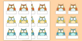Cute Owl Themed Self-Registration Labels