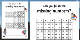 Superhero Themed Missing Numbers 100 Square Activity Sheet