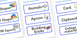 Raindrop Themed Editable Classroom Resource Labels