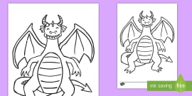 * NEW * Dragon Colouring Page