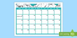 our classroom calendar january 2018 display poster